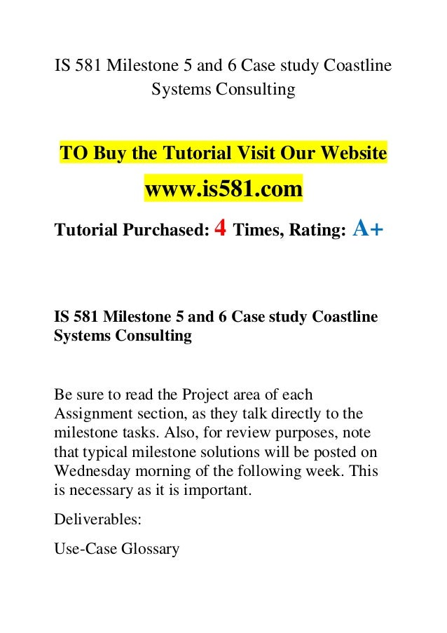 Coastline systems consulting milestone 1