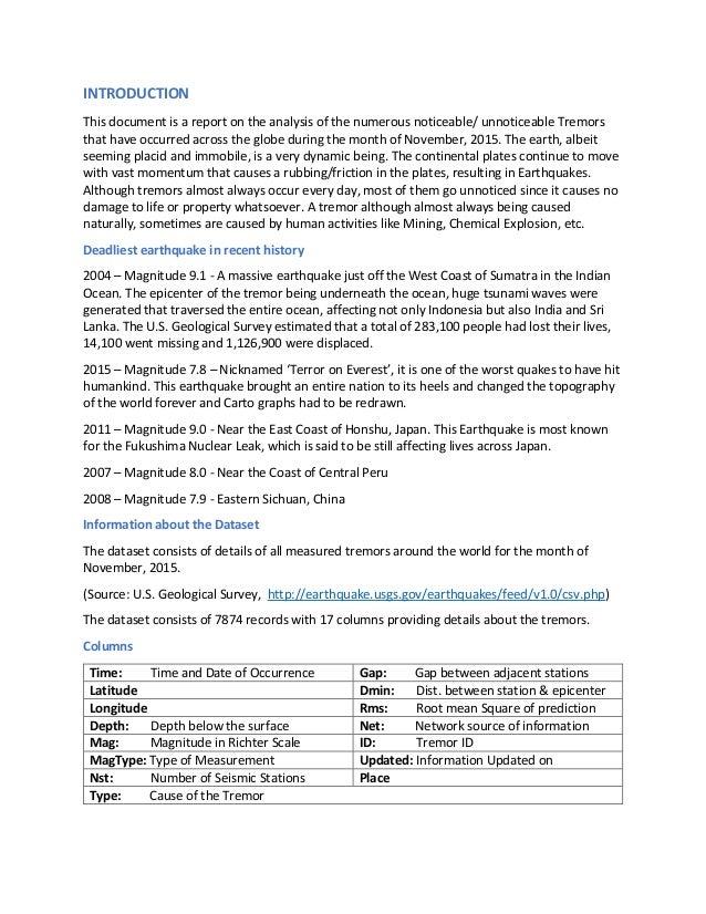 Earthquake Analysis - Shivaram Prakash