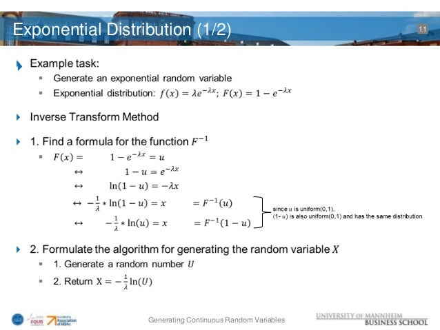 Inverse transformation method for generating random variates ppt
