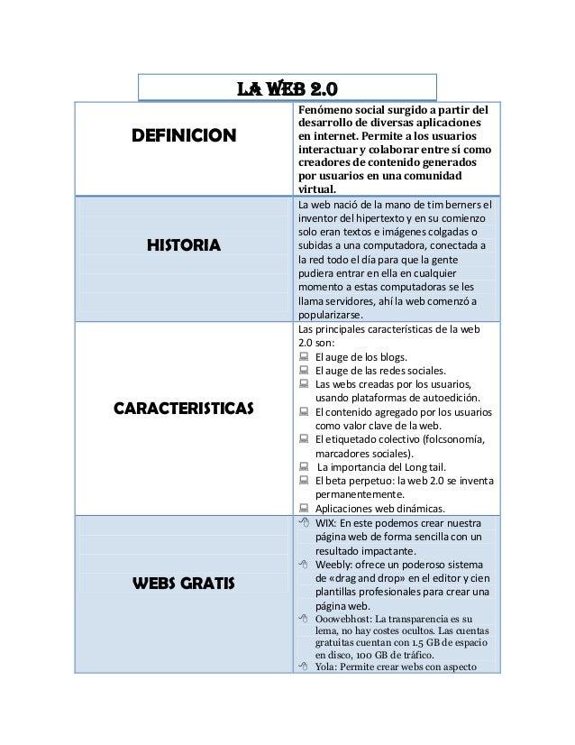 La web 2.0 DEFINICION Fenómeno social surgido a partir del desarrollo de diversas aplicaciones en internet. Permite a los ...