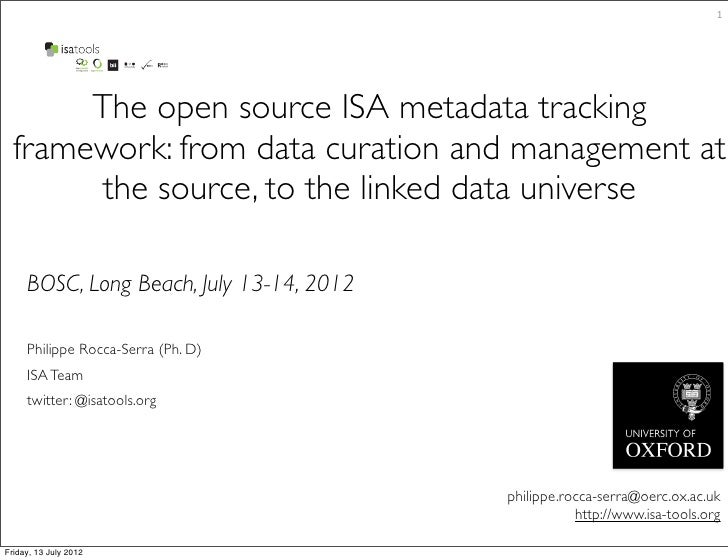 1       The open source ISA metadata tracking  framework: from data curation and management at        the source, to the l...