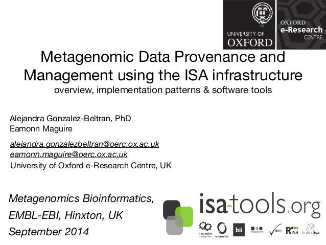 Metagenomic Data Provenance and  Management using the ISA infrastructure  overview, implementation patterns & software too...