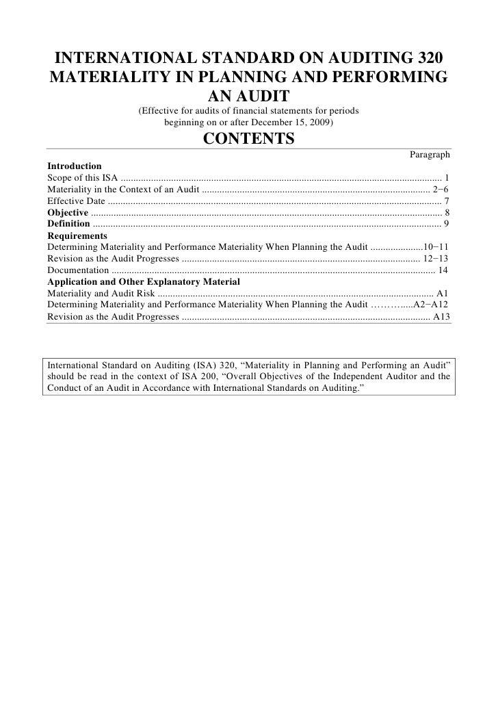 International Standards on Auditing (ISA)