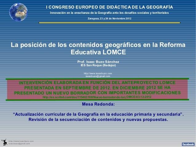 I CONGRESO EUROPEO DE DIDÁCTICA DE LA GEOGRAFÍA                                Innovación en la enseñanza de la Geografía ...