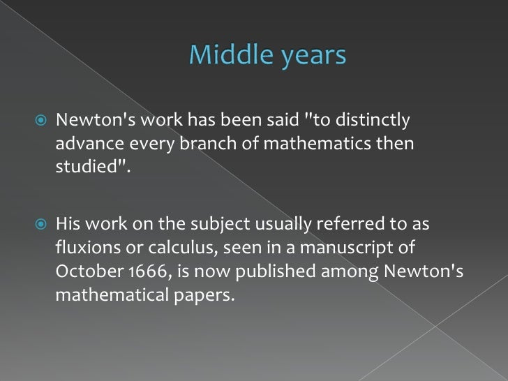 isaac newton ñ pioneer in differential equations essay Leonhard euler derived equations of motion for both (in modern  other authors  had already produced the differential form of isaac newton's.