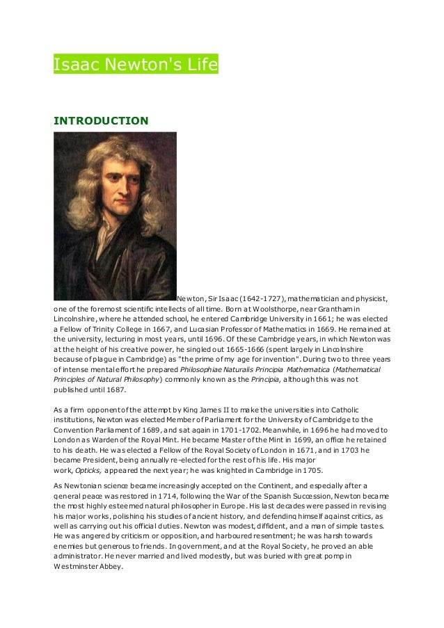 biography of sir isaac newton essay
