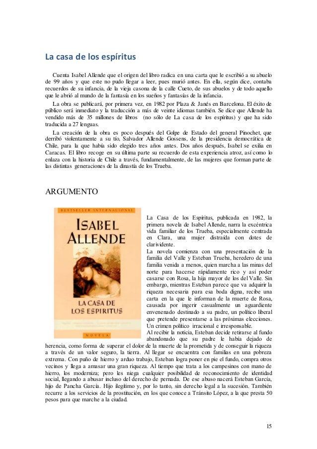 Isabel Allende Y La Casa De Los Espíritus Apuntes
