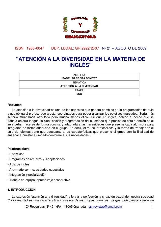 ISSN 1988-6047 DEP. LEGAL: GR 2922/2007 Nº 21 – AGOSTO DE 2009 C/ Recogidas Nº 45 - 6ºA 18005 Granada csifrevistad@gmail.c...