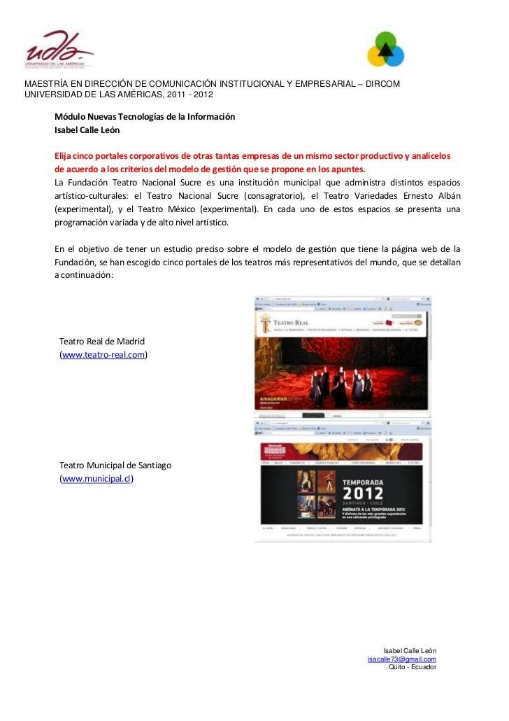 MAESTRÍA EN DIRECCIÓN DE COMUNICACIÓN INSTITUCIONAL Y EMPRESARIAL – DIRCOMUNIVERSIDAD DE LAS AMÉRICAS, 2011 - 2012     Mód...