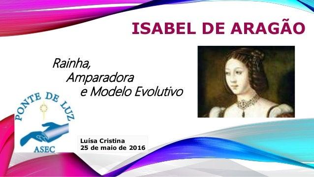 ISABEL DE ARAGÃO Luísa Cristina 25 de maio de 2016 Rainha, Amparadora e Modelo Evolutivo