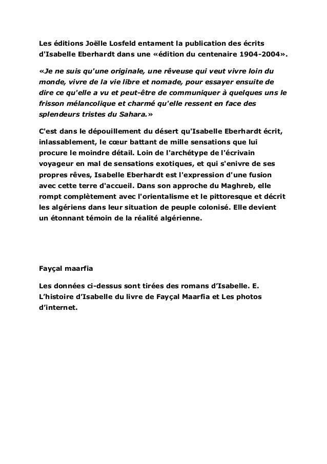 Les éditions Joëlle Losfeld entament la publication des écritsdIsabelle Eberhardt dans une «édition du centenaire 1904-200...