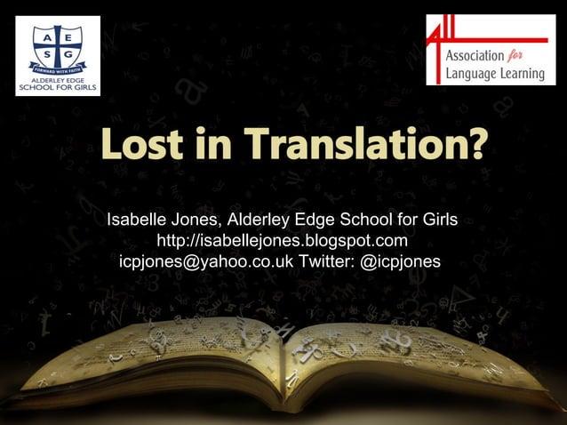 Isabelle jones-lost in translation