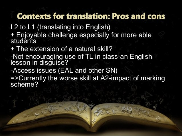 L1 to L2 (translating into foreign language)L1 to L2 (translating into foreign language) + Intellectual challenge+ Intelle...