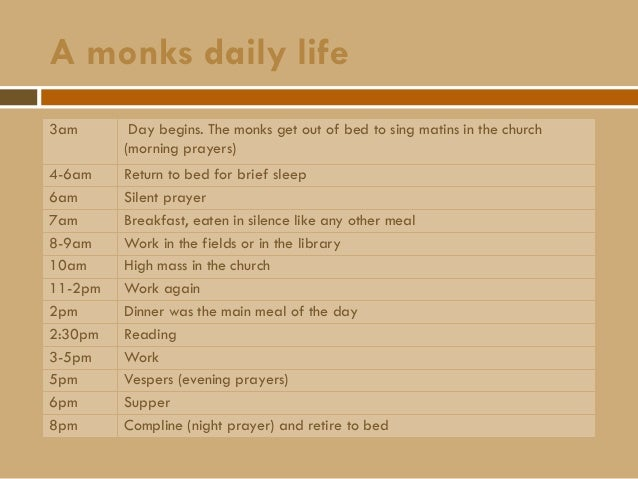 life in a medieval monastery Life in the middle ages the monk skip navigation sign in search  the medieval feast  one day in the life of a men's monastery - duration: 26:01.