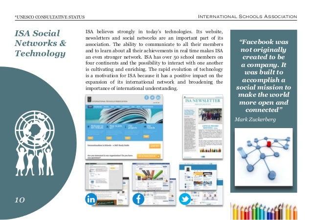"International Schools Association*UNESCO CONSULTATIVE STATUS ""Facebook was not originally created to be a company. It was ..."