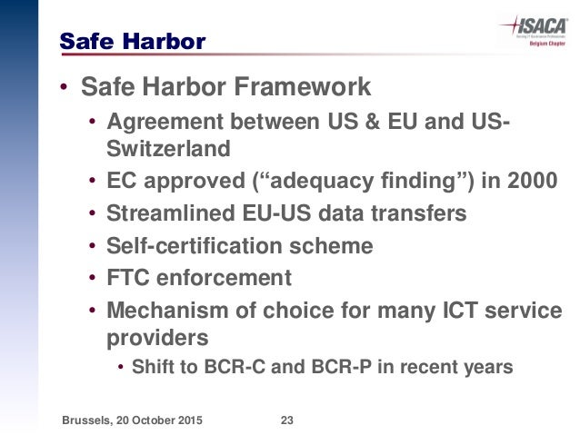 ISACA Privacy Open Forum on Drones and Safe Harbor