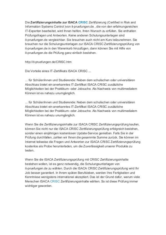 zertifizierungsprüfungen für Isaca crisc