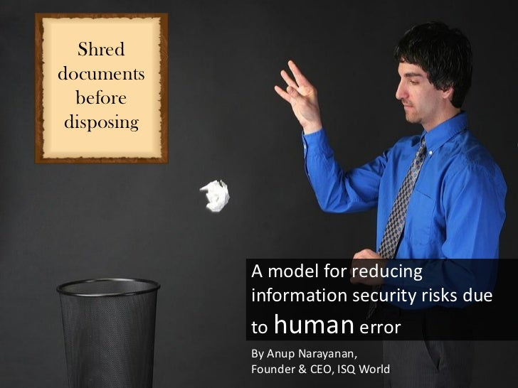 Shreddocuments  before disposing             A model for reducing             information security risks due             t...