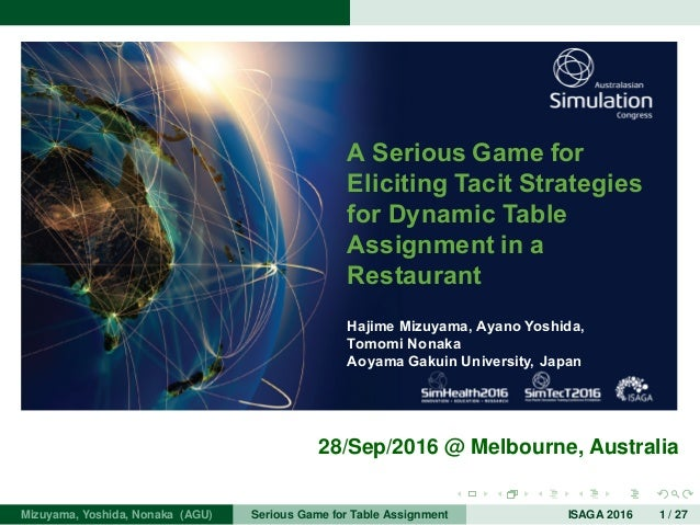 A Serious Game for Eliciting Tacit Strategies for Dynamic Table Assignment in a Restaurant Hajime Mizuyama, Ayano Yoshida,...