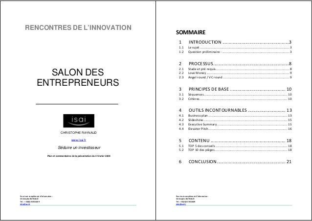 Pour tout complément d'information : Christophe RAYNAUD Tél. : +33(0)153531609 info@isai.fr RENCONTRES DE L'INNOVATION CHR...