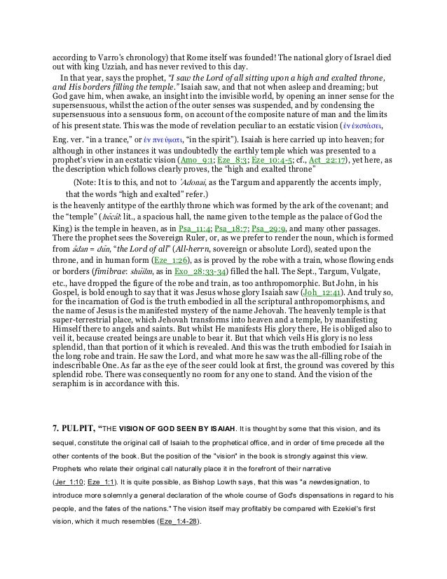 a commentary on isaiah 6 Matthew henry's commentary – isaiah upgrade to the best value in online bible study want to get the most out of bible gateway.