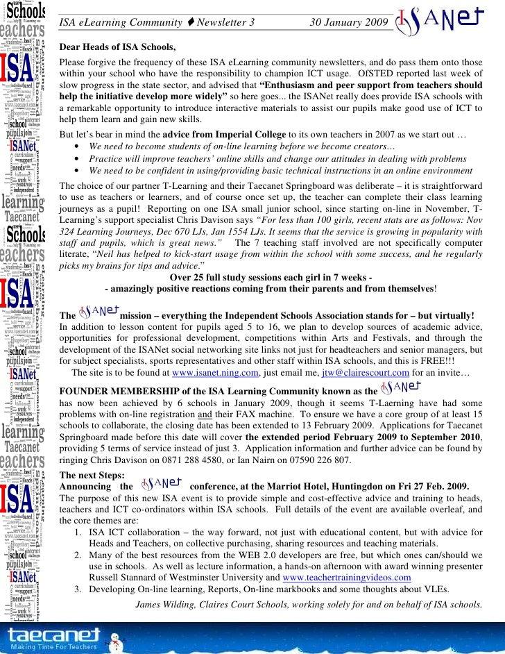 ISA eLearning Community           Newsletter 3                 30 January 2009  Dear Heads of ISA Schools, Please forgive ...