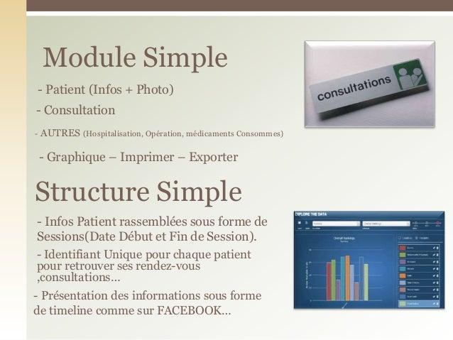 Module Simple- ConsultationStructure Simple- AUTRES (Hospitalisation, Opération, médicaments Consommes)- Patient (Infos + ...