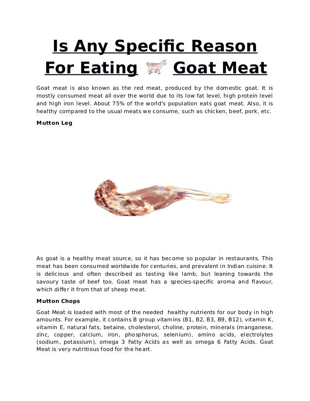 Is any specific reason for eating goat meat