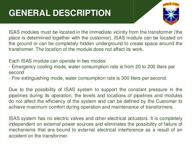 GENERAL DESCRIPTION ISAS modules must be located in the immediate vicinity from the transformer (the place is determined t...