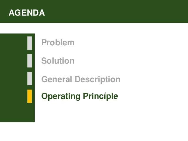 Solution Operating Princíple AGENDA Problem General Description