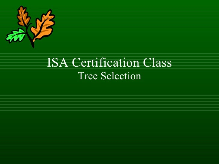 ISA Certification Class Tree Selection