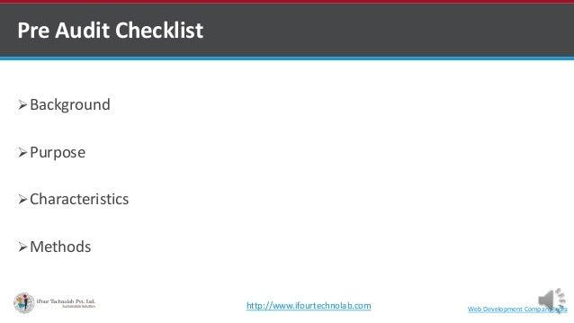 Pre Audit Checklist Background Purpose Characteristics Methods Web Development Company Indiahttp://www.ifourtechnolab....