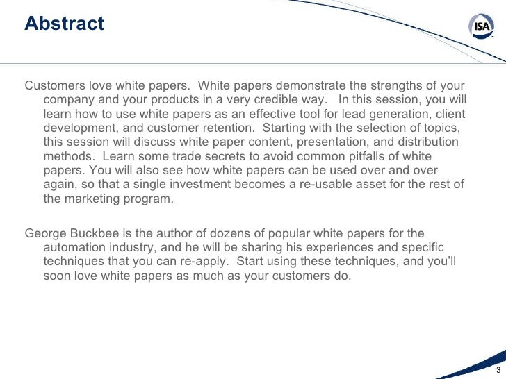 White Papers Topics Techniques And Trade Secrets