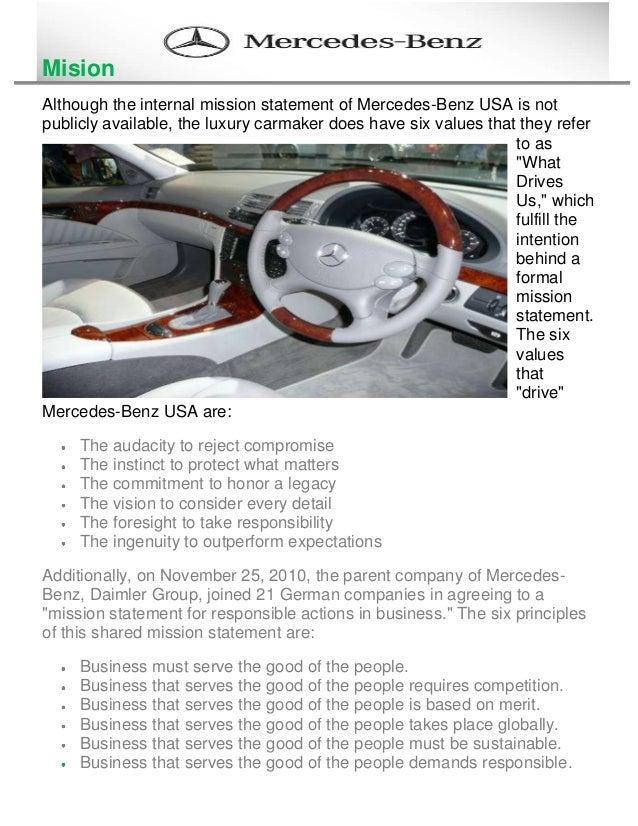Great Mercedes Benz Mission Statement