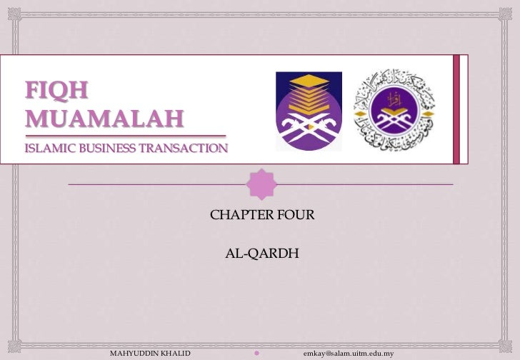 ISLAMIC BUSINESS TRANSACTION                                                               CHAPTER FOUR                  ...