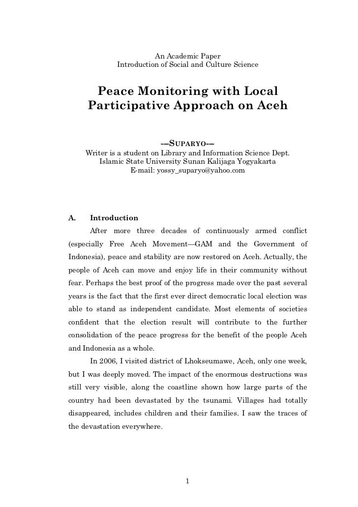 An Academic Paper               Introduction of Social and Culture Science      Peace Monitoring with Local     Participat...