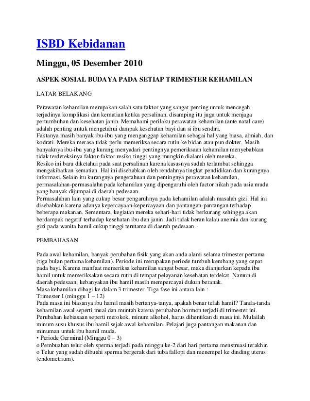 ISBD Kebidanan Minggu, 05 Desember 2010 ASPEK SOSIAL BUDAYA PADA SETIAP TRIMESTER KEHAMILAN LATAR BELAKANG Perawatan keham...