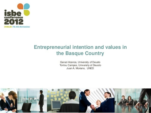 Entrepreneurial intention and values in         the Basque Country          Garazi Azanza, University of Deusto          T...