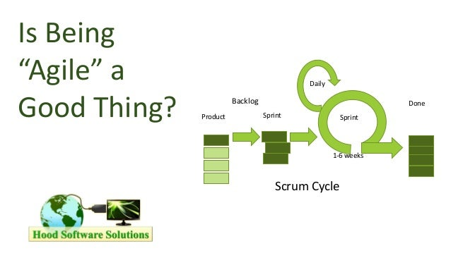 "1 Is Being ""Agile"" a Good Thing? Backlog Product Sprint Sprint Daily 1-6 weeks Done Scrum Cycle"