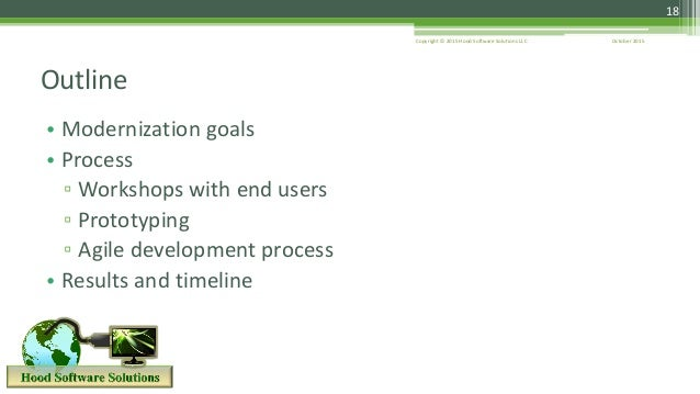 October 2015Copyright © 2015 Hood Software Solutions LLC • Modernization goals • Process ▫ Workshops with end users ▫ Prot...