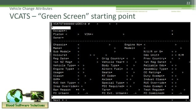 """22 Vehicle Change Attributes VCATS – """"Green Screen"""" starting point October 2015Copyright © 2015 Hood Software Solutions LLC"""