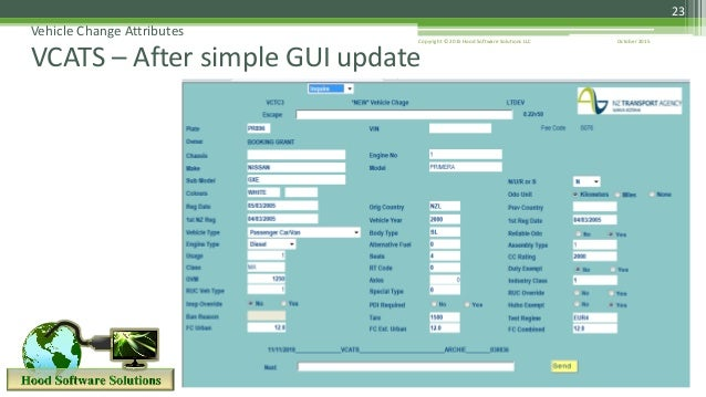 23 Vehicle Change Attributes VCATS – After simple GUI update October 2015Copyright © 2015 Hood Software Solutions LLC