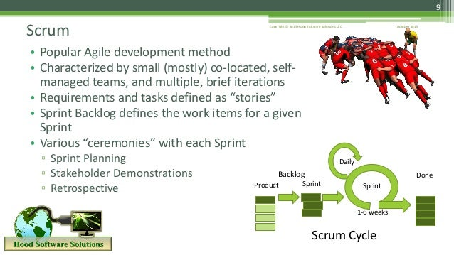 October 2015Copyright © 2015 Hood Software Solutions LLC 9 Scrum • Popular Agile development method • Characterized by sma...