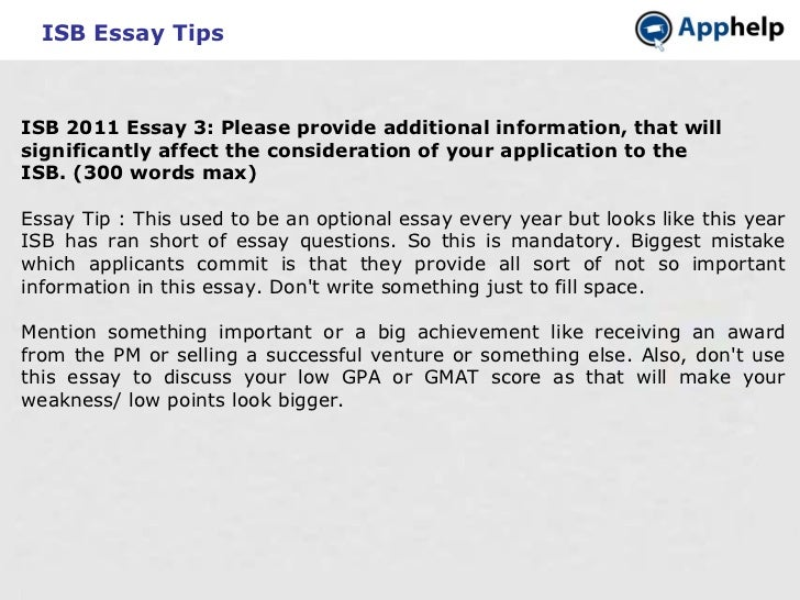 essays isb admission I chose strategy4gmat for my isb application and interview preparation as the team had 'been there and done that' and successfully guided couple of my friends.