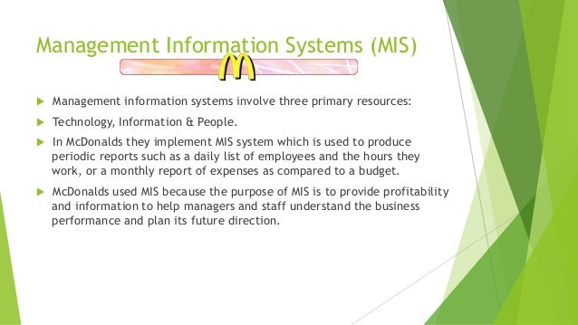 Information systems @ mcdonald's.