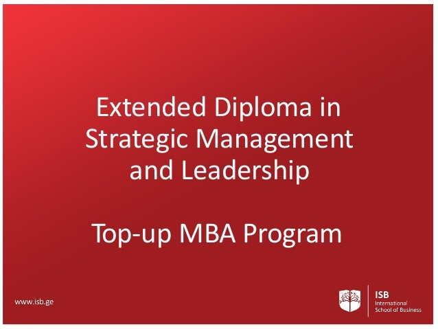 Extended Diploma in Strategic Management and Leadership Top-up MBA Program
