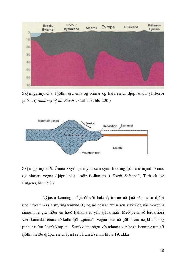 """Skýringarmynd 8: Fjöllin eru eins og pinnar og hafa rætur djúpt undir yfirborðijarðar. (""""Anatomy of the Earth"""", Cailleux, ..."""