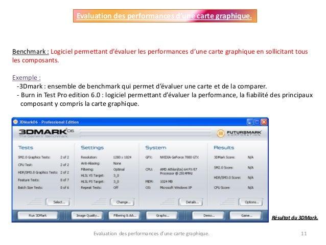 Evaluation des performances d'une carte graphique. 11 Evaluation des performances d'une carte graphique. Benchmark : Logic...