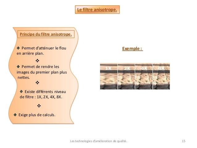 Les technologies d'amélioration de qualité. 15 Le filtre anisotrope. Principe du filtre anisotrope. Permet d'atténuer le f...