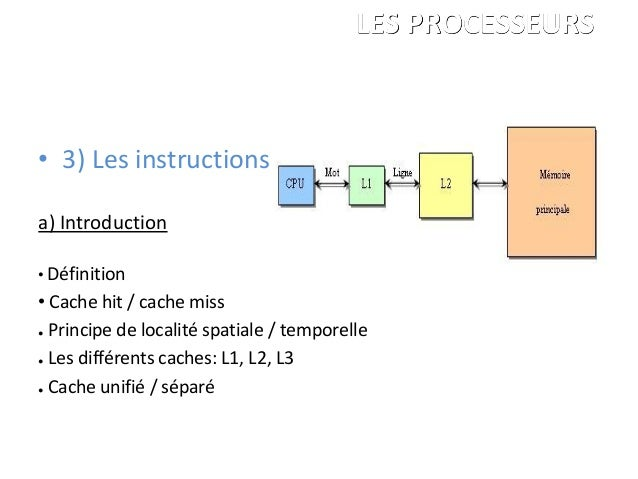 • 3) Les instructions a) Introduction • Définition • Cache hit / cache miss ● Principe de localité spatiale / temporelle ●...
